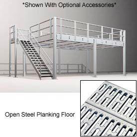 10'H Pre-Engineered Mezzanine (24'W x 8'D) With Open Steel Planking