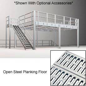 9'H Pre-Engineered Mezzanine (36'W x 32'D) With Open Steel Planking