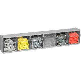 Quantum Tilt Out Storage Bin QTB306- 6 Compartments Gray