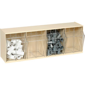 Quantum Tip Out Storage Bin QTB304 - 4 Compartments Ivory