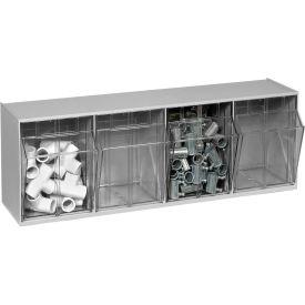 Quantum Tip Out Storage Bin QTB304 - 4 Compartments Gray