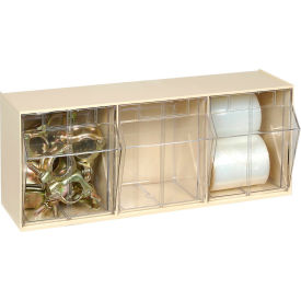 Quantum Tilt Out Storage Bin QTB303- 3 Compartments Ivory