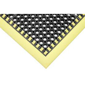"7/8"" Thick Hi-Visibility Safety Mat with Borders on 3 Sides - 38x40 Yellow"