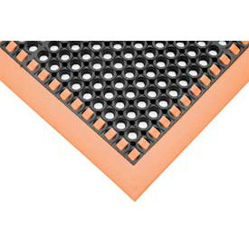 """7/8"""" Thick Hi-Visibility Safety Mat with Borders on 3 Sides - 38x64 Orange"""