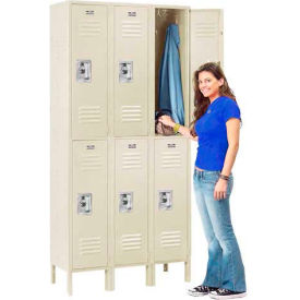Infinity™ Locker Double Tier 12x15x36 6 Door Ready To Assemble Tan