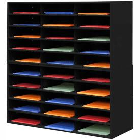 "30 Compartment Steel Literature Sorter - 36""H Black"