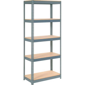 """Extra Heavy Duty Shelving 36""""W x 18""""D x 60""""H With 5 Shelves, Wood Deck"""