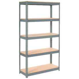 """Extra Heavy Duty Shelving 48""""W x 12""""D x 60""""H With 5 Shelves, Wood Deck"""