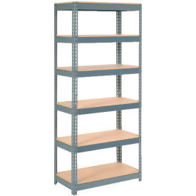 """Extra Heavy Duty Shelving 36""""W x 24""""D x 60""""H With 6 Shelves, Wood Deck"""