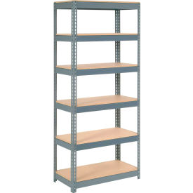 """Extra Heavy Duty Shelving 36""""W x 18""""D x 84""""H With 6 Shelves, Wood Deck"""