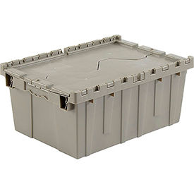 Plastic Shipping Container / Storage Container Attached Lid DC2115-09 21-7/8x15-1/4x9-11/16 Gray - Pkg Qty 6