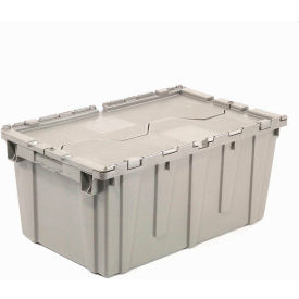 Plastic Storage Container - Attached Lid DC2115-12 21-7/8 x 15-1/4 x 12-7/8 Gray - Pkg Qty 6
