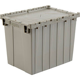 Plastic Shipping Container / Storage Container Attached Lid DC2115-17 21-7/8x15-1/4x17-1/4 Gray - Pkg Qty 3