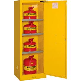 "Justrite Flammable Cabinet, 22 Gallon, Self-Close, Single Door, 23""W x 18""D x 65""H"