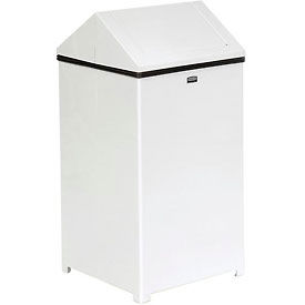 Rubbermaid® 40 Gallon Square Steel Waste Receptacle - White, FGT1940ERBWH