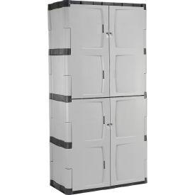 "Rubbermaid 7083 Plastic Storage Cabinet Full Double Door 36""W x 18""D x 72""H"