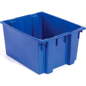 Plastic Shipping Containers - Stackable & Nesting SNT225 No Lid 23-1/2 x 19-1/2 x 10, Blue - Pkg Qty 3