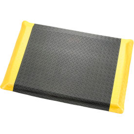 "Diamond Plate Ergonomic Mat 9/16"" Thick 36""X60"" Black/Yellow Border"