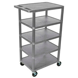 "Gray Plastic Shelf Truck 24"" W X 18"" D X 36"" H 5 Shelves"