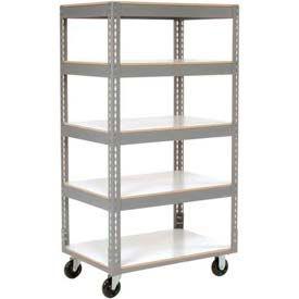 Easy Adjust Boltless 5 Shelf Truck 48 x 24 with Laminate Shelves - Polyurethane Casters