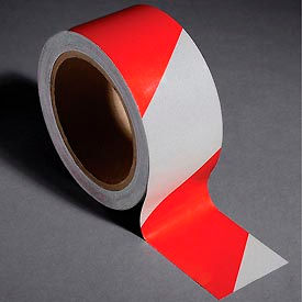 "INCOM® Safety Tape Reflective Striped Red/White, 2""W x 30'L, 1 Roll"