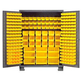 "Jamco Bin Cabinet GN260KA - 14 ga. Welded with 227 Bins Flush Door - 60""W x 24""D x 78""H"