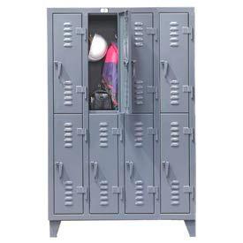 Strong Hold® Heavy Duty Slim-Line Locker 46-18-2TSL - Double Tier 50x18x78 8 Door