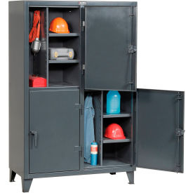 Strong Hold® Personnel Locker 46-24-2TPL - Double Tier 50x24x78 4 Doors Assembled Gray