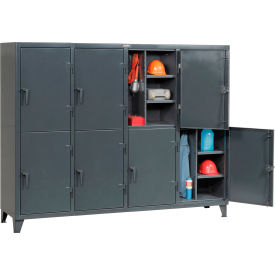Strong Hold® Personnel Locker 86242TPL10DR - Double Tier 98x24x78 8 Doors Assembled Gray