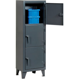 Strong Hold® Personnel Locker 25-18-3TMT - Multiple Tier 22x18x68 3 Doors Assembled Gray