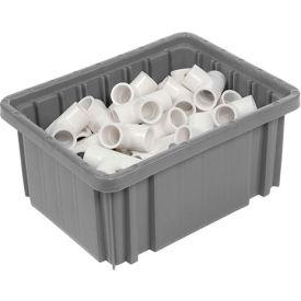 """Plastic Dividable Grid Container - DG91050,10-7/8""""L x 8-1/4""""W x 5""""H, Gray - Pkg Qty 20"""
