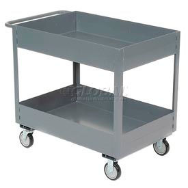 "Jamco Gray All Welded 6"" Deep Shelf Cart LS236 1200 Lb. Capacity 36x24"