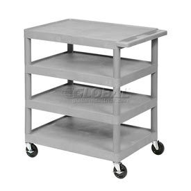 "Gray Plastic Shelf Truck 24"" W X 18"" D X 35-1/2"" H 4 Shelves"