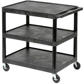 Luxor® HE33 Black Plastic Shelf Truck 32 x 24 x 33 3 Shelves