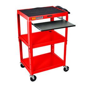 Red Adjustable Steel Workstation With Sliding Keyboard Shelf