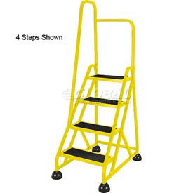 5 Step Aluminum Rolling Ladder - Yellow