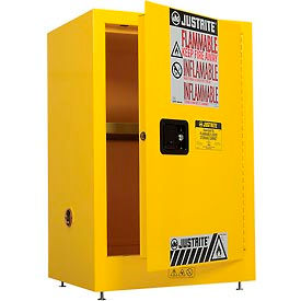 Justrite Flammable Liquid Cabinet, 12 Gallon, Manual Single Door Vertical Storage
