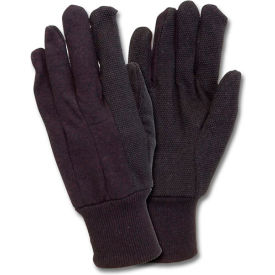 Brown Jersey Gloves With Grip Dots, 12 Pairs/Pack