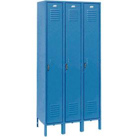 Penco 6181V-3-806KD Vanguard Locker Pull Latch Single Tier 18x18x72 3 Doors Unassembled Marine Blue
