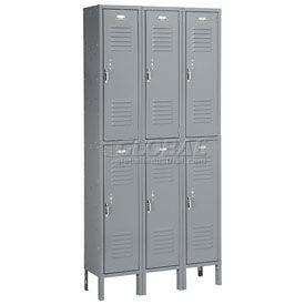 Penco 6235V-3-028KD Vanguard Locker Pull Latch Double Tier 12x18x36 6 Doors Unassembled Gray