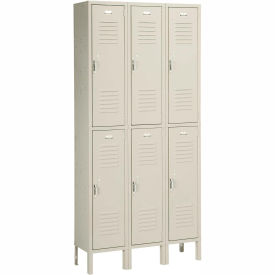 Penco 6235V-3-073SU Vanguard Locker Pull Latch Double Tier 12x18x36 6 Doors Assembled Champagne