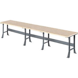 """216"""" W x 36"""" D Extra Long Industrial Workbench, Shop Top Safety Edge - Gray"""