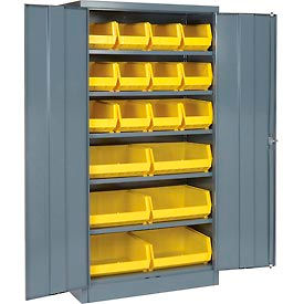 """Locking Storage Cabinet 36""""W X 18""""D X 72""""H With 18 Yellow Shelf Bins and 5 Shelves Unassembled"""