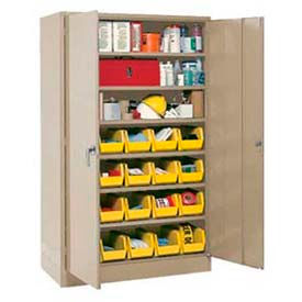 """Locking Storage Cabinet 48""""W X 24""""D X 78""""H With 24 Yellow Stacking Bins and 6 Shelves Unassembled"""