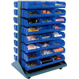 Mobile Double Sided Floor Rack With 88 Blue Stacking Bins 36 x 54
