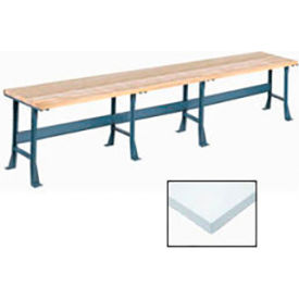 "180"" W x 30"" D Extra Long Production Workbench, Plastic Laminate Square Edge - Gray"