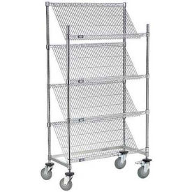 "Slant Wire Shelving Truck - 4 Shelves With Brakes - 36""W x 24""D x69""H"