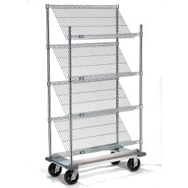 Slant Wire Shelving Truck - 4 Shelves With Dolly Base - 48x18x70