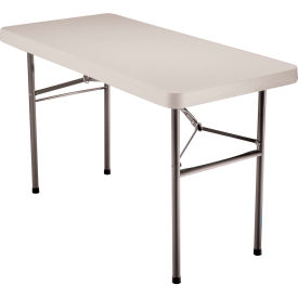 "Lifetime® Height Adjustable Folding Table 48""L x 24""W - Almond"