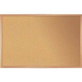 "Ghent® Cork Bulletin Board - Hardwood Oak - 24""W X 18""H"